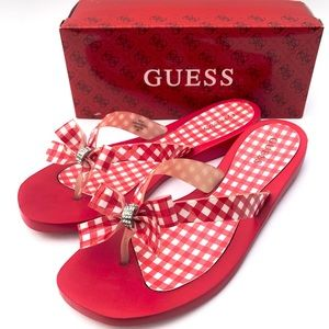 3ba822d88 Guess Red and White Gingham Plaid Tutu Flip Flops